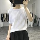 棉麻上衣 亞麻短袖白T恤女薄款上衣夏韓版寬鬆透氣打底衫黑色棉麻體恤涼感