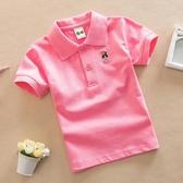 童裝夏裝男女童短袖T恤純色白色POLO衫棉質中大童兒童半袖T恤校服【免運】