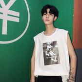 韓版嘻哈無袖運動背心寬鬆男士潮流坎肩T恤【聚寶屋】