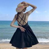 夏裝女裝韓版中長款氣質修身顯瘦露背交叉吊帶洋裝短裙