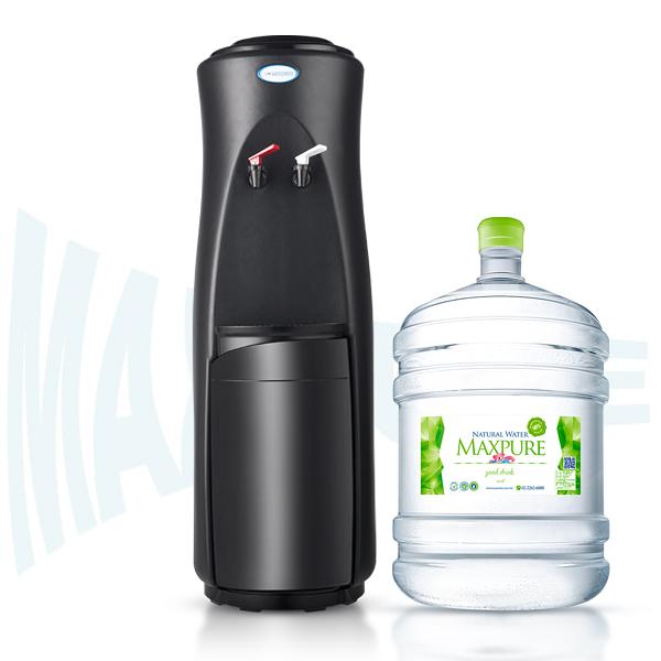頂好 麥飯石涵氣桶裝水20L X 20瓶 + 立式溫熱飲水機(黑)