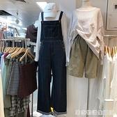 早秋直筒牛仔褲女新款時尚韓國東大門凈色個性減齡顯瘦牛仔吊帶褲 聖誕節全館免運