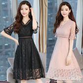 中長款蕾絲氣質慵懶風洋裝女ins超火 溫柔裙子顯瘦仙 『歐韓流行館』