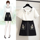 超殺29折 韓系時尚雪紡衫高腰刺繡半身裙套裝短袖裙裝