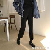 春裝新款韓版復古黑色休閒褲女彈力修身顯瘦西裝褲直筒九分褲學生 糖糖日系森女屋
