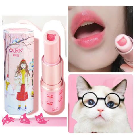 【Bujicat】韓國 OURA 貓咪馬油雙色護唇膏 馬油護唇膏 口紅 唇彩 唇膏