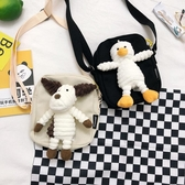日系軟妹可愛卡通小動物玩偶娃娃帆布單肩小包學生原宿斜背包 朵拉朵