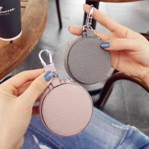 韓國新款女士皮質包頭層荔枝紋圓形迷你鑰匙扣 XH719『伊人雅舍』