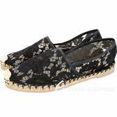 VALENTINO Garavani Lace 蕾絲草編休閒鞋(黑色) 1630310-01