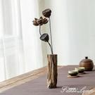 復古禪意客廳實木干花花瓶擺件茶室餐桌插花小花器裝飾擺設花插 范思蓮恩