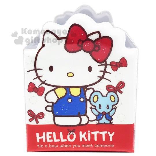〔小禮堂〕Hello Kitty 造型防水四格筆筒《紅.禮物》收納盒.刷具筒 4712937-66977