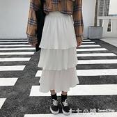 裝韓版氣質中長款高腰a字蛋糕裙長裙寬鬆百褶裙半身裙女士裙子