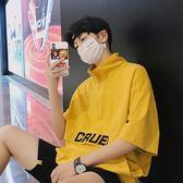 夏季bf原宿風ulzzang情侶五分袖T恤男韓版寬鬆立領短袖上衣chic潮