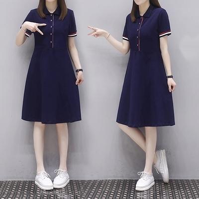 胖妹妹大碼洋裝連身裙~310#polo衫中長款T恤裙開衫連身裙成份93.8%棉,6.2%氨綸GD665B莎菲娜