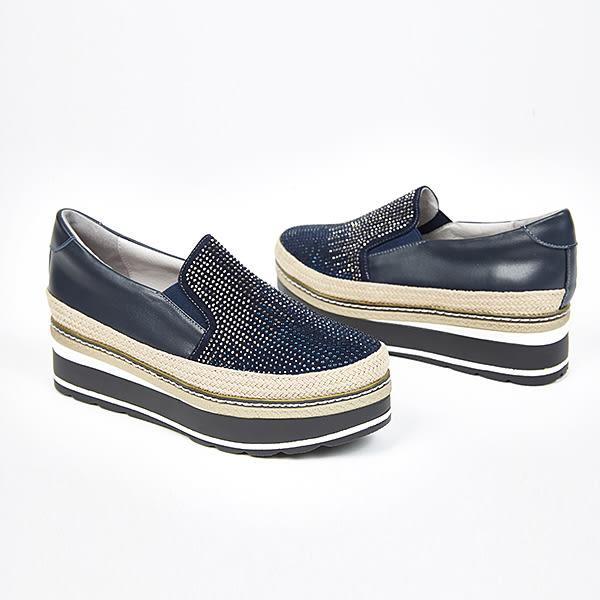 ★2017秋冬新品★itabella.漸層水鑽厚底懶人包鞋(7563-50藍)