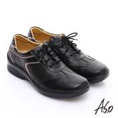 A.S.O 3E寬楦 全真皮金箔壓紋綁帶奈米休閒鞋 黑