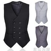 秋季男士西裝馬甲英倫風韓版黑色雙排扣修身型男裝西服馬夾背心潮  自由角落