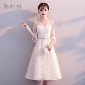 宴會禮服 洋裝小禮服裙新款閨蜜宴會姐妹團中長款香檳色伴娘服顯瘦春季