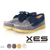 XES 男鞋  接拼 撞色 雷根 帆船鞋 海軍藍