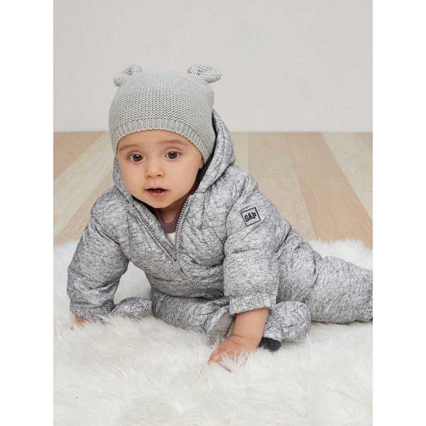 Gap男嬰幼童 保暖連帽壹件式連身羽絨風雪服 348544-灰黑色