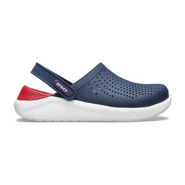 Crocs卡駱馳洞洞鞋 男女鞋 LITERIDE 柔軟布希鞋 園丁鞋 防水布希鞋 涼拖鞋 A1724#紅藍◆奧森