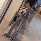 韓國免運新款春季寬松顯瘦休閑運動套裝上衣大喇叭褲時髦兩件套女
