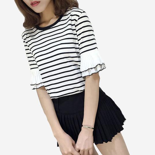 雙層喇叭五分袖圓領條紋T恤 (黑 白)二色售 (M7SS) 11710024