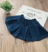 短裙中小童2018春季新款女寶寶休閒氣質牛仔裙 兒童時尚褶皺半身短裙