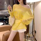 出清188 韓國風糖果色字母印花薄款透視防曬長袖上衣