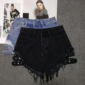 牛仔短褲女夏氣質高腰寬鬆破洞卷超短熱褲