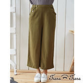【Tiara Tiara】純棉細紋寬版直筒長褲(藍/綠)