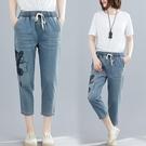中大尺碼 2021年夏季新款復古文藝鬆緊腰刺繡牛仔褲顯瘦寬鬆大碼女裝胖妹妹