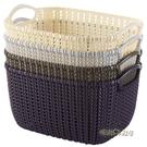 藤編桌面收納筐塑料雜物收納桶鏤空手提收納編制籃零食玩具收納盒「時尚彩紅屋」