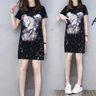 針織休閒時尚黑色短袖潑墨印花長版T恤短洋...