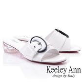 ★2019春夏★造型透視跟 月亮飾釦條帶拖鞋(白色) -Ann系列
