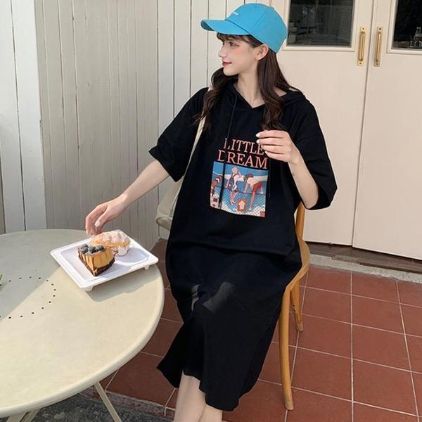 L-4XL胖妹妹大碼洋裝連身裙~大碼胖mm減齡洋氣寬松連帽中長款t恤連身裙3F061A衣時尚