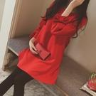 長袖洋裝 大碼胖mm紅色連衣裙秋裝2020年新款女遮肚子顯瘦設計感長袖打底衫 霓裳細軟