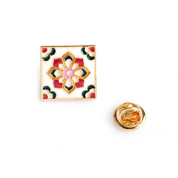胸針 方塊徽章(一組4入)-復古花磚圖騰金屬男女別針73pp652[時尚巴黎]