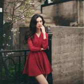 洋裝 褶邊中長款長袖連身裙縷空修身顯瘦浪漫紅色裙子 631-171巴黎春天