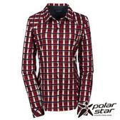 PolarStar 女 針織格子長袖襯衫 『磚紅』P15214