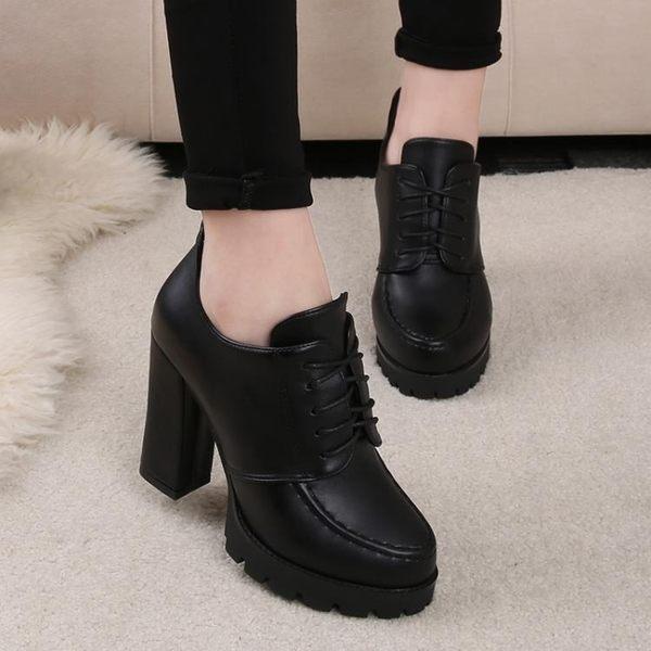 售完即止-秋冬新品英倫時尚短靴女靴子粗跟高跟鞋防水台厚底鞋女鞋皮鞋12-18(庫存清出T)