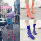 新款短靴女粗跟歐美網紅高跟鞋pvc靴子春秋夏季馬丁靴透明鞋 korea時尚記