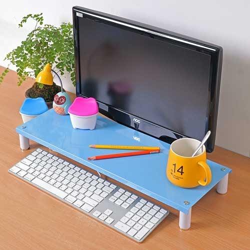 【方陣收納】高質烤漆金屬桌上螢幕架/鍵盤架RET-125(藍色1入)