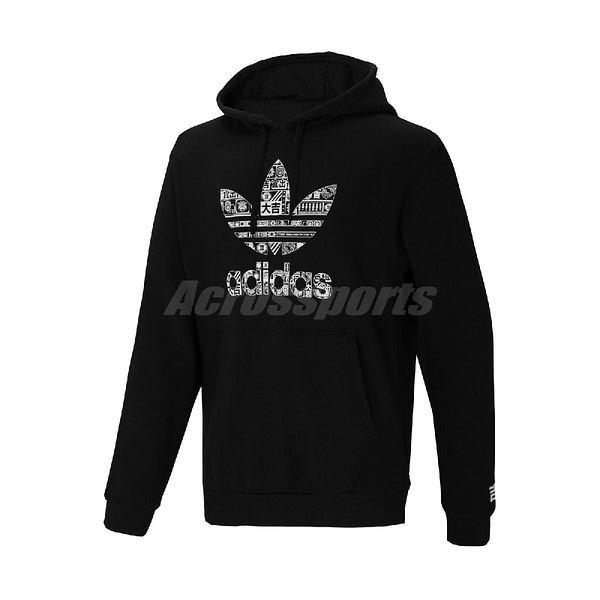 adidas 長袖T恤 Culture Hoody 黑 白 男款 帽T 連帽T恤 運動休閒 【ACS】 GT4356