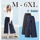大尺碼 涼感條紋顯瘦闊腿褲2色M-6XL...
