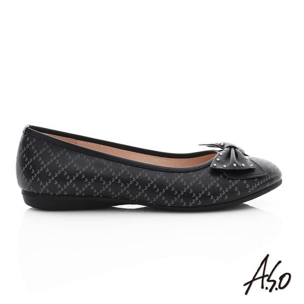 A.S.O 親漾漫步 真皮鉚釘蝴蝶結飾格紋平底鞋  淺灰