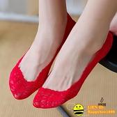 4雙| 蕾絲短襪船襪結婚隱形襪大紅色新娘襪子女本命年薄款【happybee】