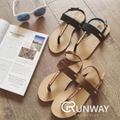 【R】韓版 時尚 質感 流行 平底 休閒 金屬 一字式 扣帶 防滑設計 夾腳拖 拖鞋 涼鞋