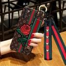 OPPO Find X3 PRO手機套 腕帶款玫瑰花find x3pro手機殼 毆珀Find X3 Pro保護殼 oppo潮流時尚保護套