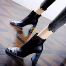短靴 35-39 潮真皮方頭短靴女2021冬季新款粗跟高跟鞋側拉鏈宴會馬丁靴【樂淘淘】